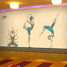 个性瑜伽馆墙纸健身房养生美容院卧室壁画东南亚风情泰式餐厅壁纸