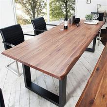 北欧简易餐桌椅组合6人实木办公桌工作桌会议桌食堂饭桌家用圆桌