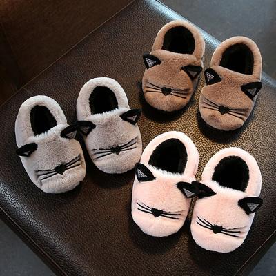 宝宝棉拖鞋1-3岁男冬季室内防滑儿童拖鞋女童毛毛鞋小孩包跟棉鞋