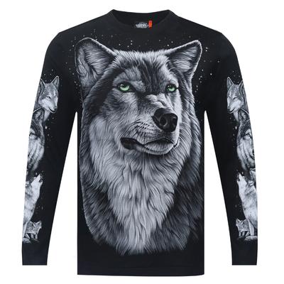 摇滚天堂潮牌秋季男士长袖T恤打底衫3D立体动物图案宽松狼头男装