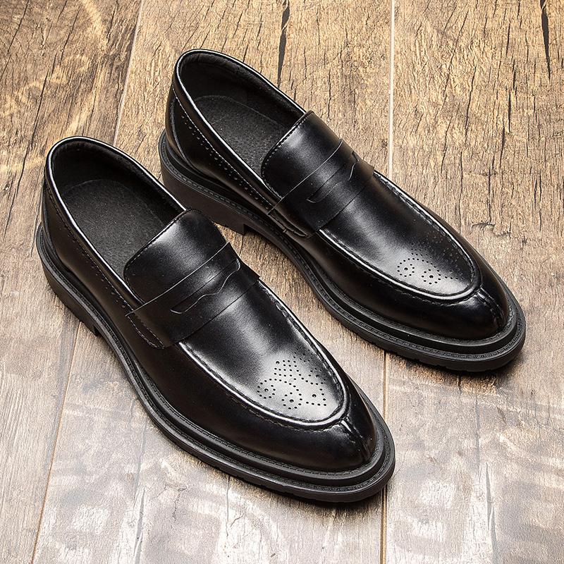 皮鞋男英伦布洛克雕花潮鞋男士休闲鞋真皮厚底正装婚鞋韩版小皮鞋