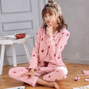 春秋季长袖开衫睡衣女士翻领薄款卡通学生甜美棉质可爱家居服套装