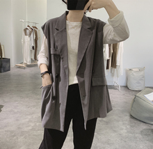 Women's suit and waistcoat in early autumn new loose and slim double-breasted casual Korean version sleeveless jacket with retro pockets