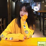 Tide stusy Stussy Sesame Street long-sleeved guard dress joint round collar yellow cartoon embroidered classic coat