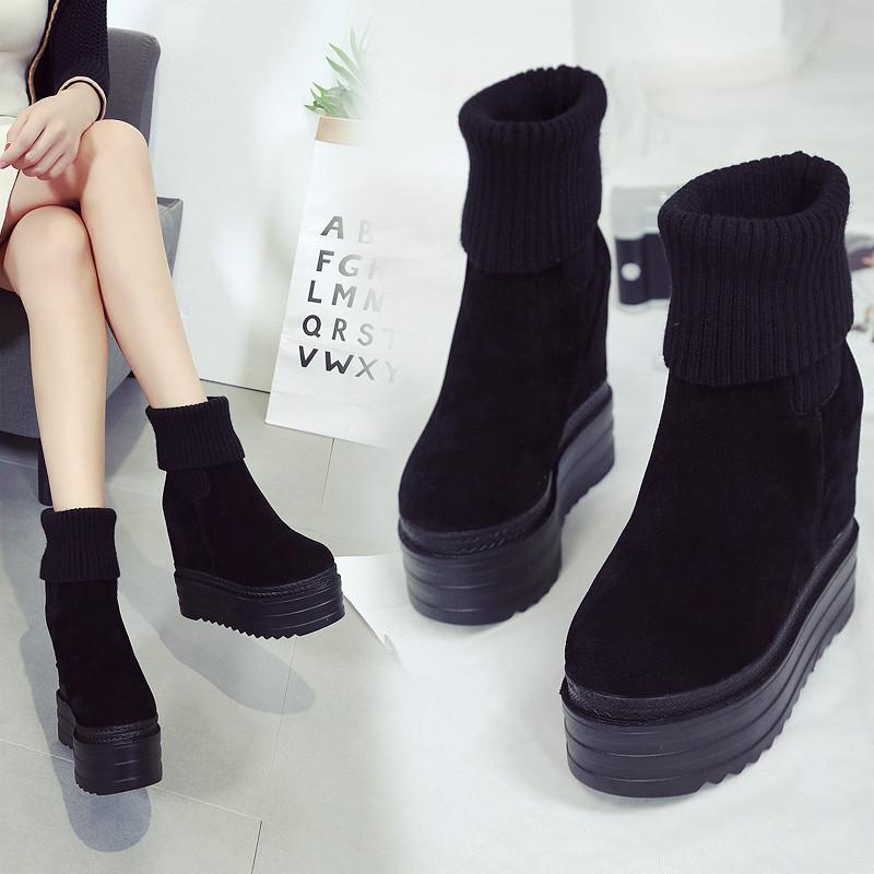 2019秋冬新款韩版14CM坡跟女靴内增高磨砂短靴马丁靴毛线口短靴潮