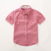 童装衬衫  夏装男童 2-4-6-8-10岁休闲格子 小孩半袖  中大童衬衣