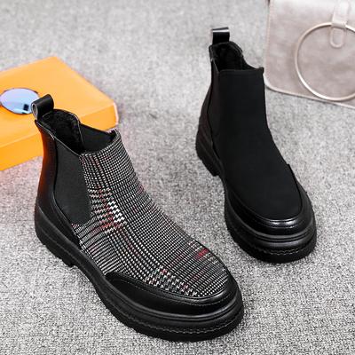 欧洲站2018秋季新款女鞋圆头平底真皮马丁靴英伦拼接格子短靴