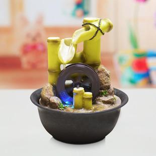 欧式流水喷泉风水轮小摆件水车办公室创意礼品物家居装饰桌面竹子