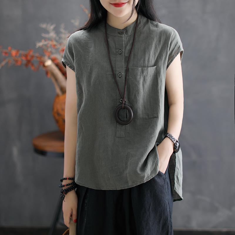 女式亚麻衬衫立领