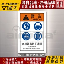 Must wear protective mask label, safety helmet, protective glasses, earmuffs, DZ-F001 protective label