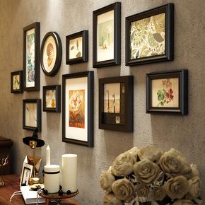实木照片墙装饰一面墙客厅背景墙创意挂墙相框组合美式复古相片墙