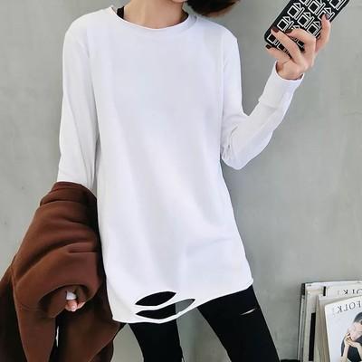18秋冬下摆破洞t恤女加绒百搭宽松打底衫中长款白色长袖显瘦上衣