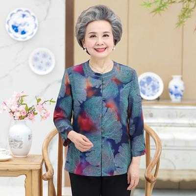 中老年人女装春装奶奶装60岁老人衣服妈妈上衣长袖春秋衬衣70夏装