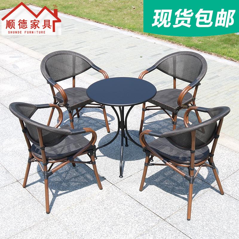 露天咖啡藤桌椅