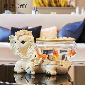 欧式大象摆件客厅装饰品鱼缸结婚礼物创意电视柜玄关摆件开业礼品