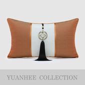 现代新中式样板房 饰枕 雅橘色拼凹凸肌理纹加纯铜吊穗装 熙壹品