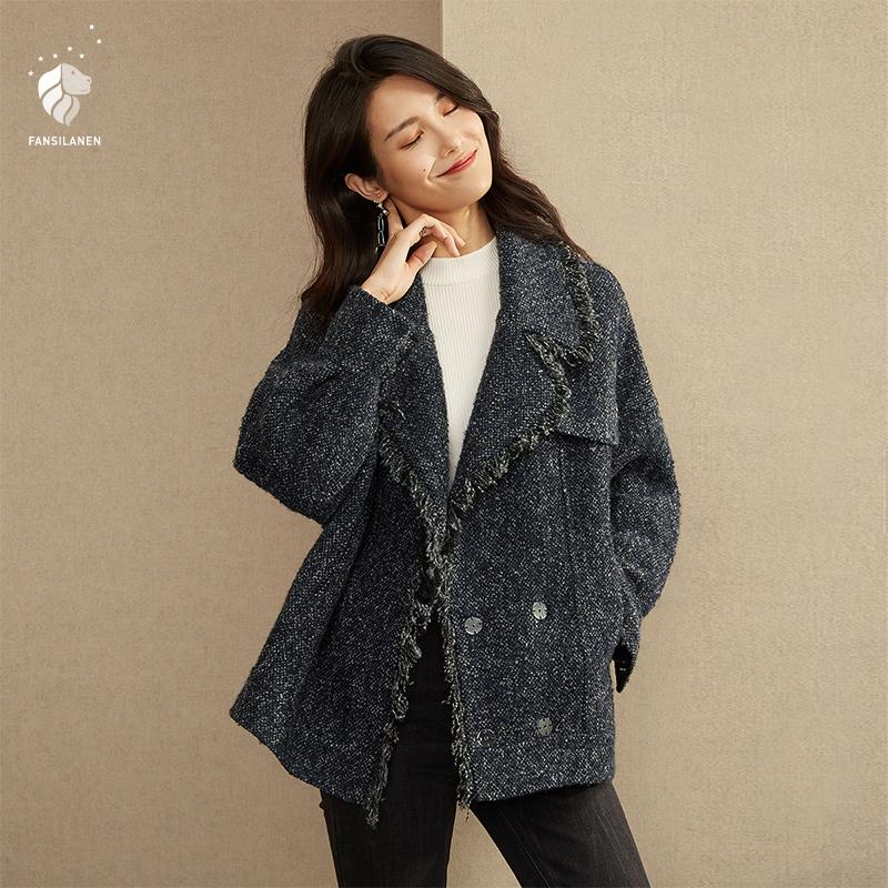 粗花呢羊毛呢大衣