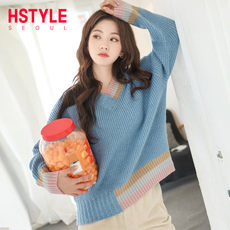 Handu clothing house 2019 spring new women's Korean version of the loose V-neck stitching sweater sweater GD01140煜