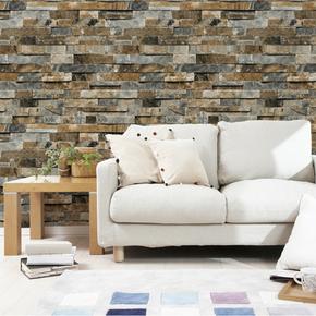 中式复古3D立体仿砖纹石头防水墙纸 客厅卧室宾馆电视背景墙壁纸