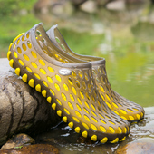 防水凉鞋 青少年学生塑料塑胶拖鞋 男女 夏季沙滩洞洞鞋 黑色透气网鞋图片