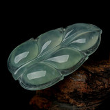 Authentic a cargo jade leaf pendant ice seed leaf jade pendant gold branch jade leaf men and women jade jade jade