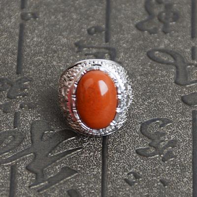 天然凉山南红玛瑙戒指男女款 925镶嵌川料柿子红带证书包邮