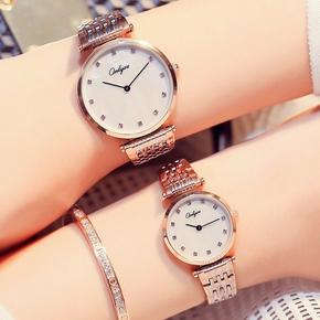 正品奥利妮简约防水钻女表商务休闲男表超薄情侣对表钢带石英腕表