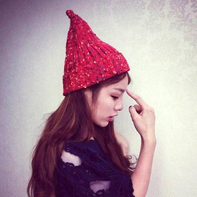奶嘴帽韩国时尚可爱尖尖混色洋葱毛线帽子秋冬季女针织保暖套头帽