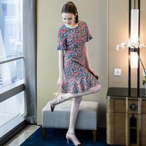 奢姿2019夏季新品大码女装气质雪纺连衣裙适合腿粗腰粗的胖mm穿潮