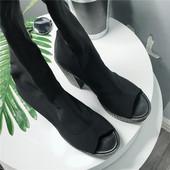 1韩国东大门欧美街头鱼嘴布面弹力靴中跟方跟高筒连袜靴女 8008图片