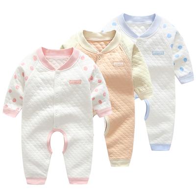 婴儿衣服3个月6春秋春装夹棉哈衣女宝宝开档连体衣12保暖初生0岁1