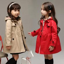 外套 连帽英伦女童风衣 小中大童儿童风衣潮 童装 大衣女童春秋新款图片