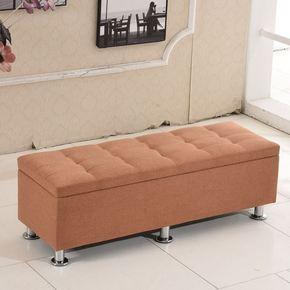 棉麻布艺换鞋凳服装店沙发凳实木收纳储物床尾试穿鞋凳子长条脚凳