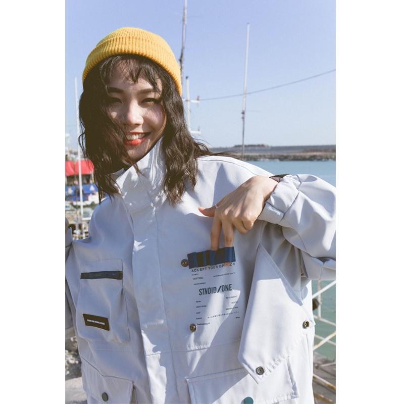 初界 2019春季美式口袋工装立领夹克bf风国潮帅气女生ins宽松外套图片