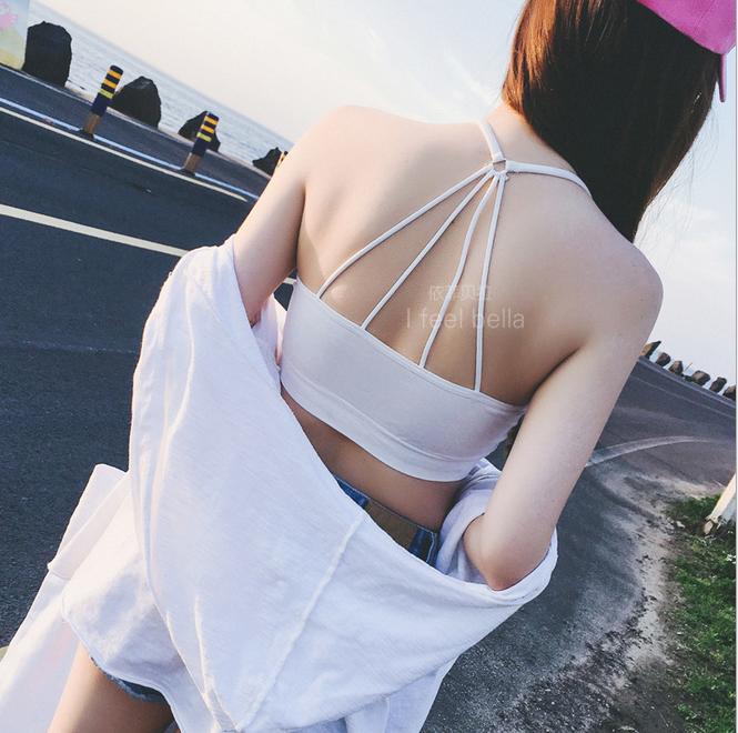 少女文胸发育期纯棉吊带小背心式内衣初中高中学生无钢圈抹胸裹胸