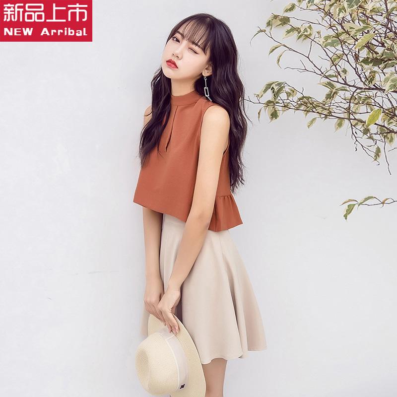 无袖立领短裙