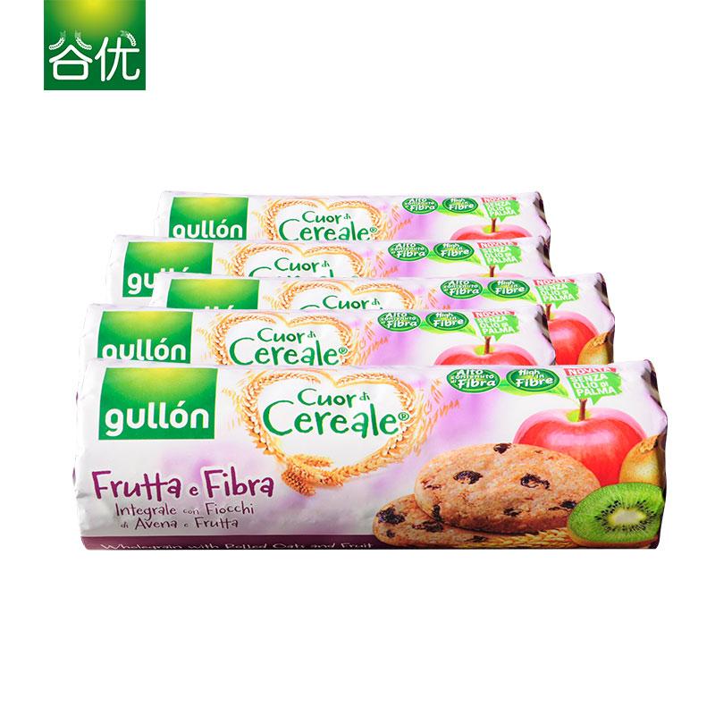 谷优西班牙进口高纤维燕麦饼干(水果口味)5包组合 饱腹代餐零食