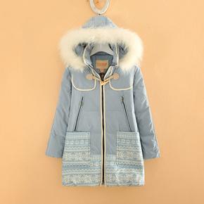 小熊維尼冬季新款初高中大學生少女裝駱子毛領長袖保暖繭型羽絨服