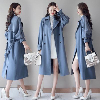 过膝长款风衣女2018秋季新款韩版时尚宽松系带收腰显瘦薄款外套潮