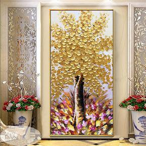 欧式手绘客厅有框油画玄关金色发财树竖版走廊过道装饰画金钱树画
