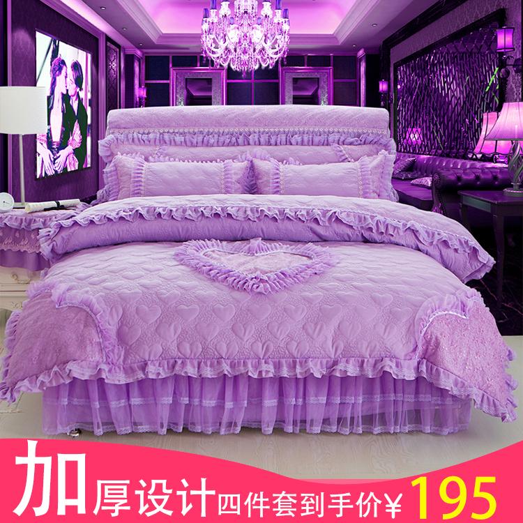 蕾丝四件套床裙婚庆