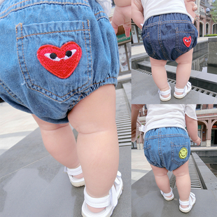 男女童裤子婴幼儿卡通笑脸爱心大PP牛仔三角宝宝短裤新款婴儿裤潮
