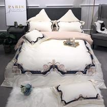 美式简约60s双股长绒棉绣花四件套大气重工刺绣全棉双人床上用品