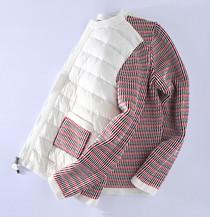 亏了很减龄松本公司18法国纯高贵原显瘦舒适针织拼接羽绒服外套女