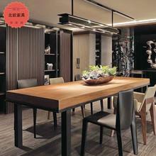 美式实木办公桌欧式简约铁艺工作台会议桌职员洽谈桌写字台餐桌