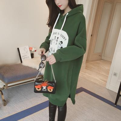 2018秋冬季新款韩版大码长袖卫衣女学生加绒宽松加厚连帽中长款