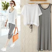 防晒背心网纱罩衫 条纹长裙莫代尔两件套连衣裙套装 女夏装 韩版 短袖图片