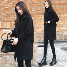 2009 Anti-Autumn and Winter New Korean Edition Loose and Slender Black Fabric Overcoat Mid-long Wool Fabric Overcoat Female Trend