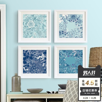 沙发背景墙蓝色正品热卖