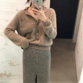 ◆ASM◆2018冬季新款翻领复古针织开衫短款宽松百搭打底衫毛衣女